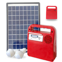 Portable solar DC light kit with USB charger, radio & audio player