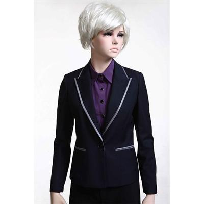 Contrasted Binding Lapel And Pocket Opening Button Fasten Fake Pocket Long Sleeve Fully Lined Suit Jacket