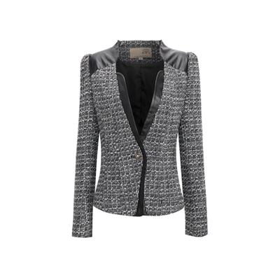 Beautiful Geo Textured Contrasting PVC Yoke And Placket Decorative Button With Hook And Eye Fastening Long Sleeve Jacket