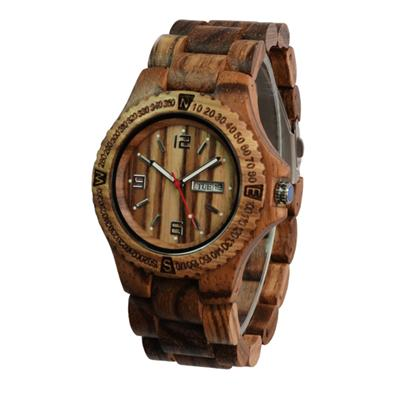 Factory Hot Sale New Style Wooden Wrist Watch Calendar Zebra Wooden Watch Pure Natural Wooden Watch