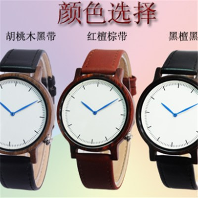 Wooden Watch with Genuine Leather Band
