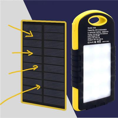 EP-P-S005 Outdoor Portable Travel Waterproof 12000mAh Mobile Solar Power Bank With LED Lights