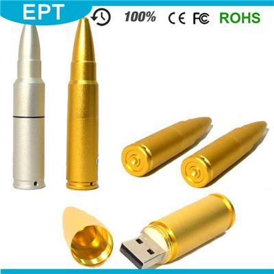 TM052 Golden Lanyard Keychain Bullet Shape 2GB USB Flash Drive For Promotion