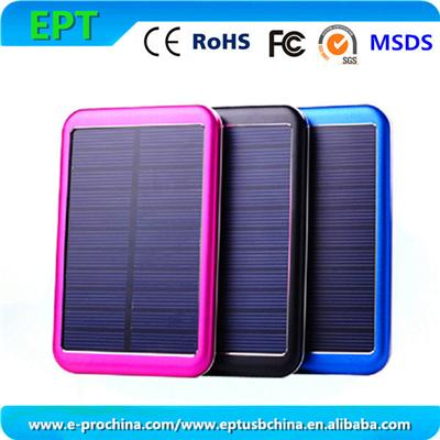 EP-P-S007 2015 New Product 5000mAh Waterproof Solar Power Bank, Alluminum Solar Mobile Charger
