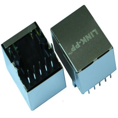 LA1S09-43 LF Single Port RJ45 Connector with 1000 Base-T Integrated Magnetics,Green/Yellow LED,Tab Down,RoHS
