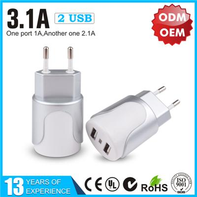 Silver 3.1A Dual USB Wall Charger