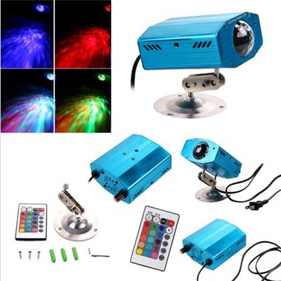 RGB LED Water Ripples Light Stage Lamp Projector With Remote Controller