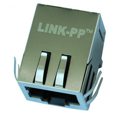 13F-64ND2NL Single Port RJ45 Connector with 10/100 Base-T Integrated Magnetics,Without LED,Tab Down,RoHS