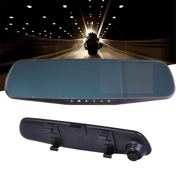 Road Camera Rear-view mirror driving mirror dual-lens reversing image 4.3-inch high-definition 1080P car insurance gifts
