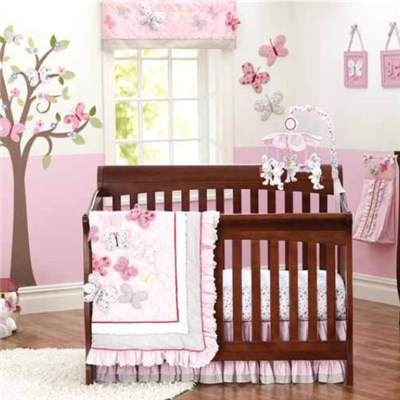 9pcs Vivid Design 3D Butterflies Baby Girl Crib Bedding Sets China Supplier