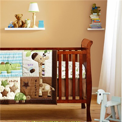 Hot Sale Design Giraffe Baby Boy Cot Crib Bedding Set