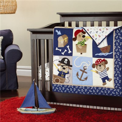 Pirates Of The Caribbean Theme Baby Boy Crib Bedding Set