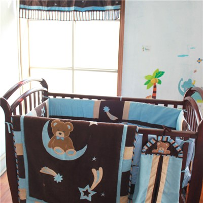 Peachskin Fabric Patchwork Quilting Baby Boy Crib Bedding Cot Set