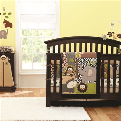 Made In China Factory Price Indoor Print Quilted Baby Crib Bumper Bedding Set