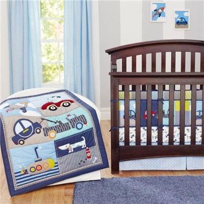 Blue Motorvehicle Dog Design Boys Crib Bedding Set From Professional Manufacturer