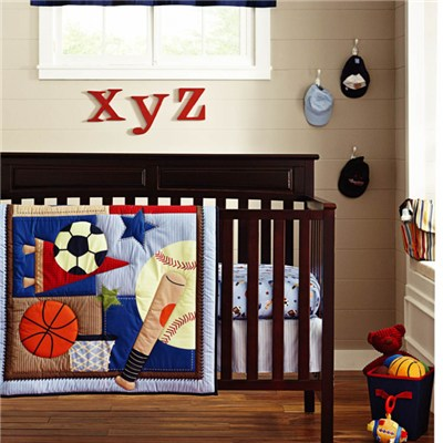 Wholesale 4pcs-14pcs Baby Boy Baseball Sports Crib Bedding Cot Set