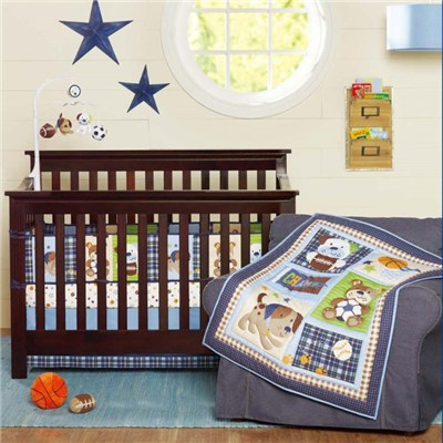 Luxury Quilted Newborn Baby Boy Crib Bedding Set Supplies, Dog And Bear Cartoon