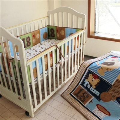 Patchwork Quilting Applique Embroidery Print Baby Boy Crib Bedding Set