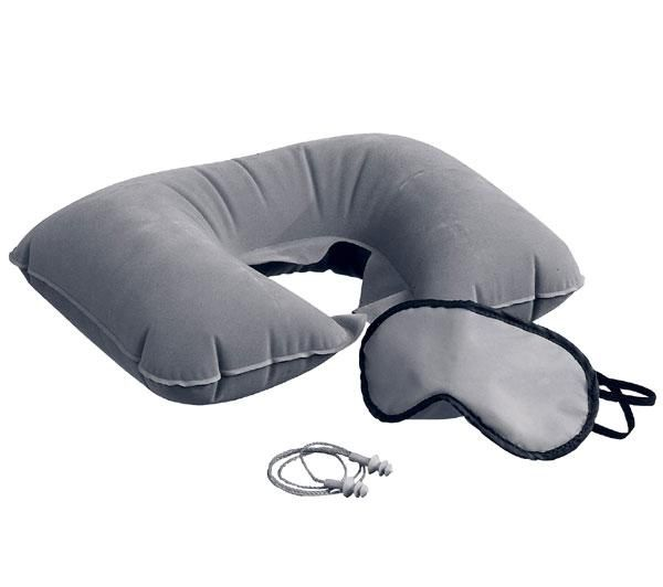 Travel kit with inflatable neck pillow ,ear plugs and eye mask in a nylon bag.