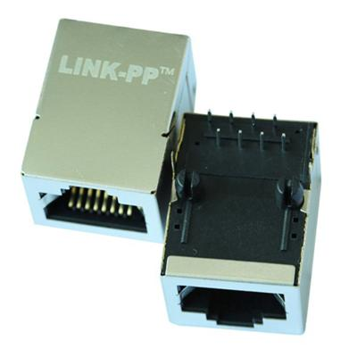 46F-1207NDNW3NL Single Port RJ45 Connector with 10/100 Base-T Integrated Magnetics,Without LED,Tab Up,RoHS