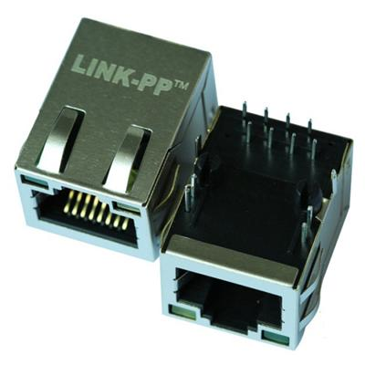 JXR1-0015NLT Single Port RJ45 Connector with 10/100 Base-T Integrated Magnetics,Green/Yellow LED,Tab Up,RoHS