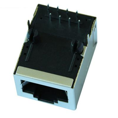 7499010001 Single Port RJ45 Connector with 10/100 Base-T Integrated Magnetics,Without LED,Tab Up,RoHS