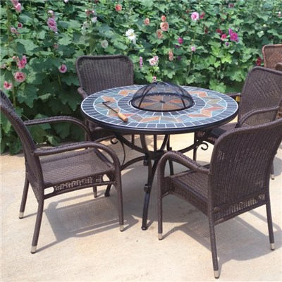 HL-5S-16008 Round Fire Pit & BBQ Table Set With Slate Top Bowl Cover Mosaic Table With Four Rattan Arm Chair