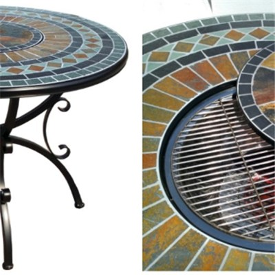 HL-5ST-16008 Outdoor Round Mosaic Fire Pit & BBQ Table Set For Sale