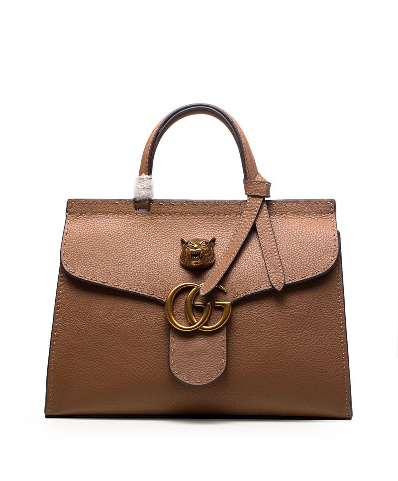 Gucci GG Marmont Leather Top Handle Coffee Bag at itpurse.cn