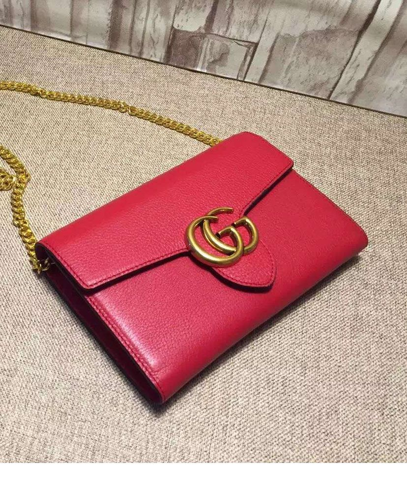 Gucci GG Marmont Leather Mini Chain Red Bag at itpurse.cn