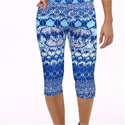 Blue Geometrical Print Capri Leggings