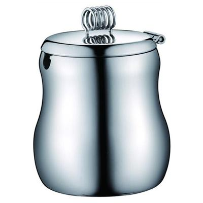 0.35 L Stainless Steel Sugar Pot With Spring Knot, Sugar Bowl With Cover, Creative Metal Sugar Pot