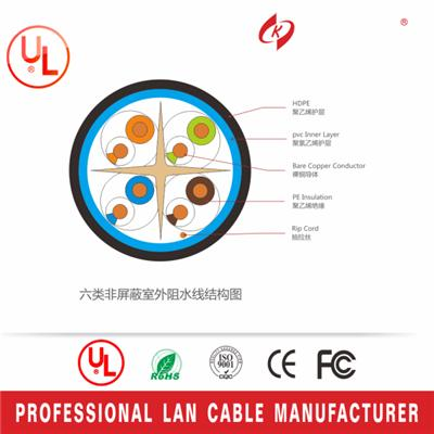 23AWG Cat6 UTP Bare Copper Outdoor Network Ethernet Cable