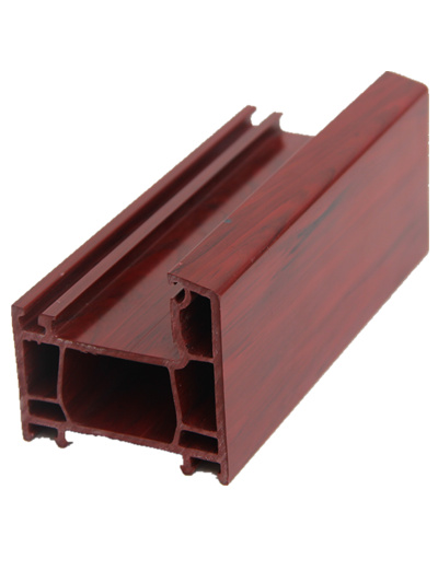 Pvc flat wood grain open window plastic frame extrusion