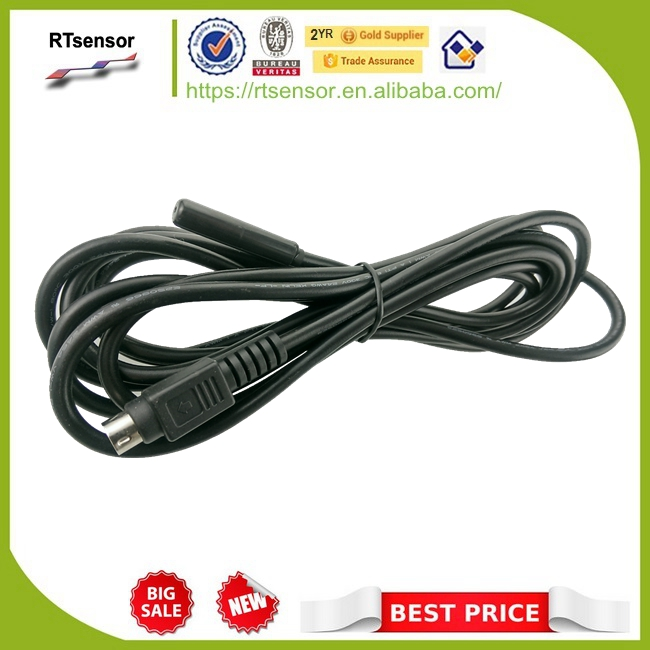 DS18B20-3000L25D8M 8*25 Black ABS Housing One Wire DS18B20 Temperature Sensor Cable 24AWG 3C 3m With Snap Lock Power Din 4Pin