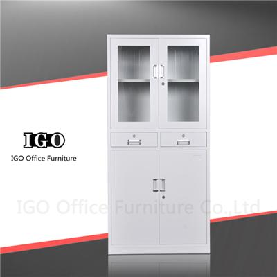 Upper Glass Door Bottom Steel Door Steel Cupboard With Two Drawers