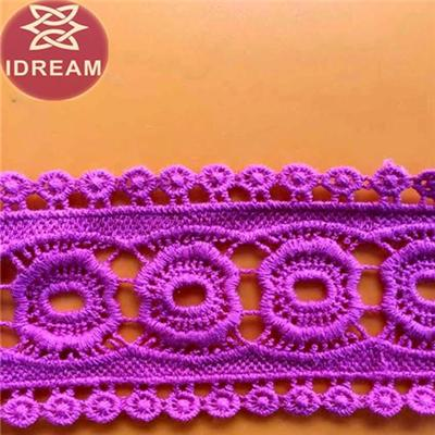 Embroidery Pink Cord Organdy Fabric Lace Trim For Shoes