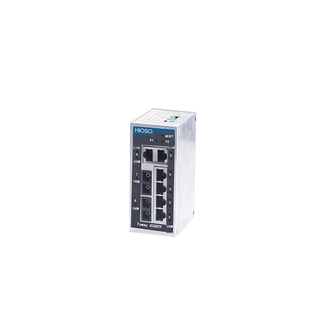 Industrial Din Rail Ethernet switch with 2 100M FX + 6 10/100M RJ45