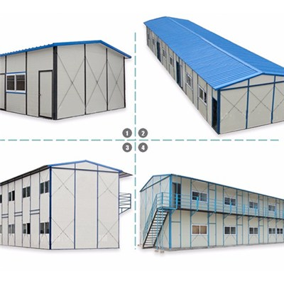 K Type Steel Frame Iron Sheet Sandwich Panel Tent House Prefabricated