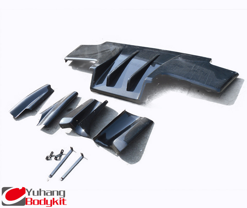 Carbon Fiber TS/Top Secret  Style Rear Diffuser Type 2 with Metal Fitting Accessories (7pcs) Fit For 1989-1994 Nissan Skyline R32 GTR