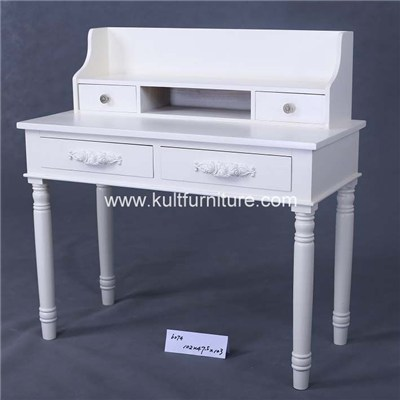 Vanity Table With Jewelry Makeup Drawer Nad Color White With Solid Wood Construction