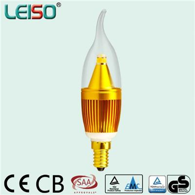 LEISO 5W SCOB Golden Or Silver Color E14 Flame Shape 80Ra And 90Ra LED Candle Light Dimmable And Non-dimmable Accept Customization