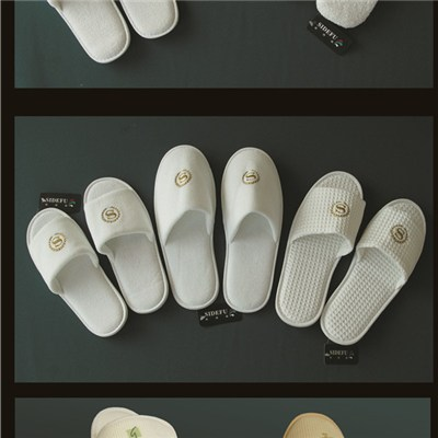 White Cotton Terry Embroidery Open Toe Slipper For Hotel