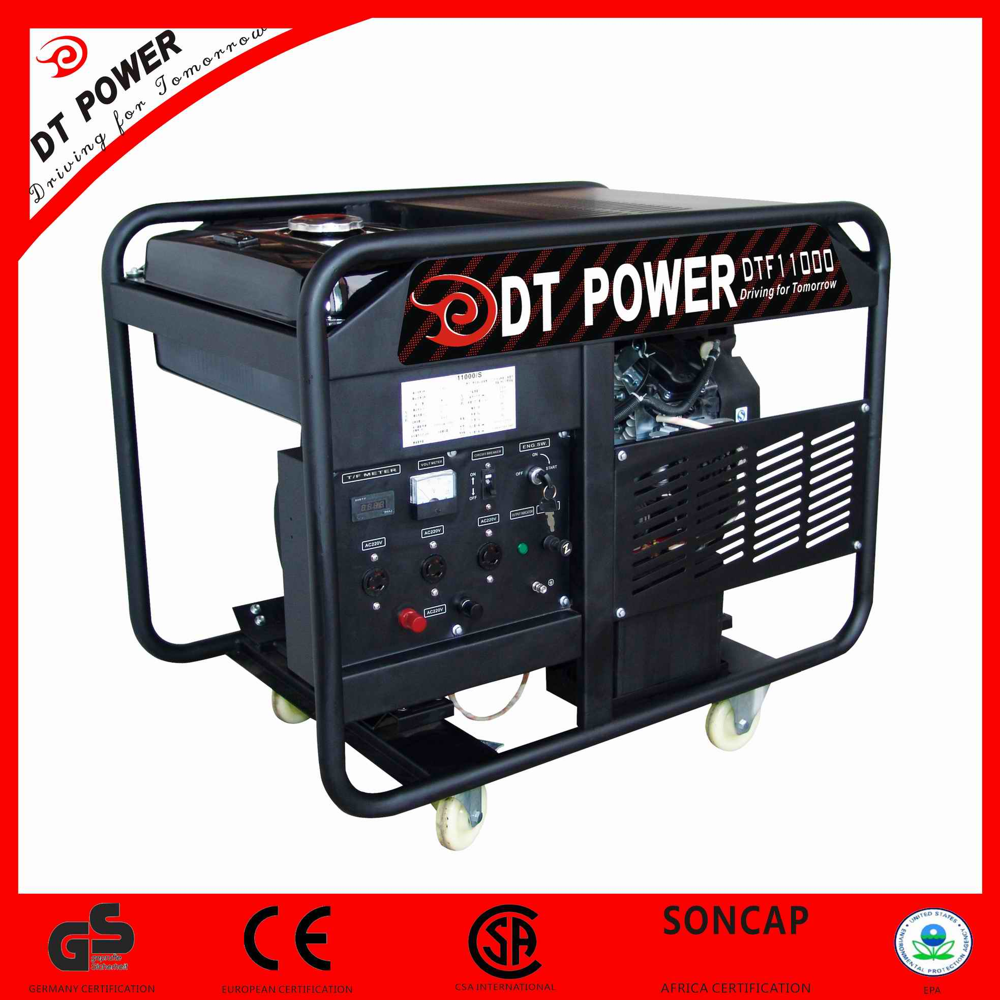 High Performance, Electric Key Start, 1-Phase and 3-Phase, Gasoline Generator