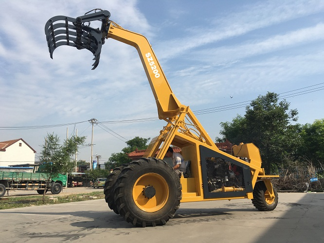 crank tele boom logger with grapple bucket 360 degree swivel for wood log grab tri-wheeler loader tricycle sugarcane loader