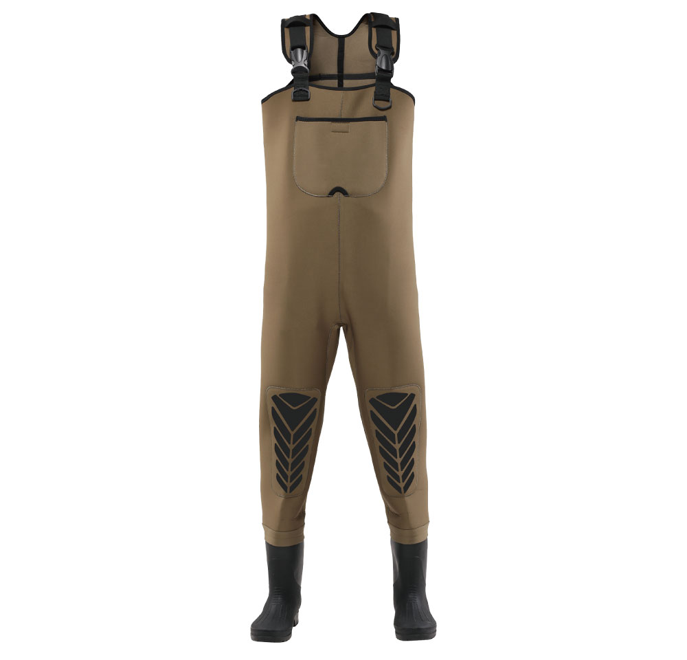 Olive color 4.5mm Neoprene chest pocket , PVC boots and socks fishing waders