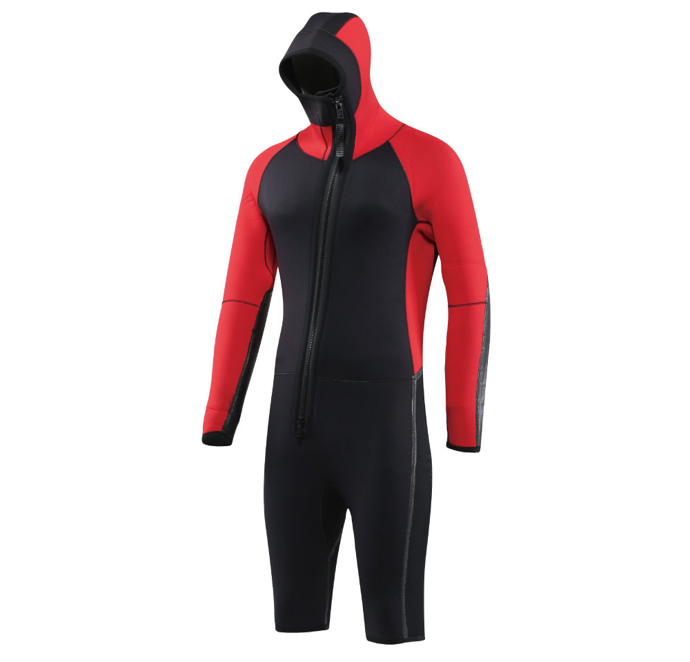 6.0mm neoprene PU coating wetsuit jacket with hood for canyong and karyak , latex coating