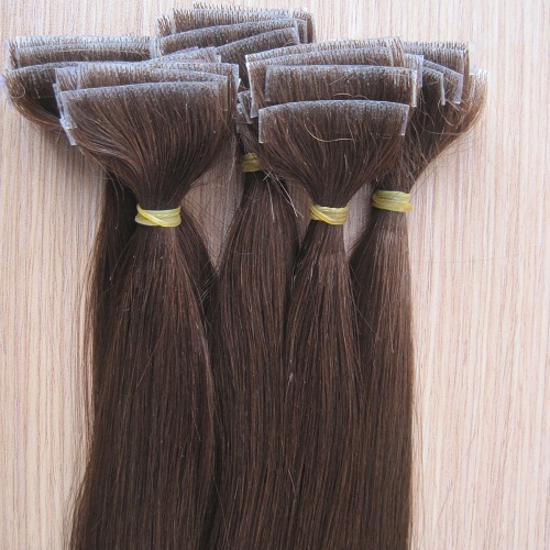 High quality silky straight hand tied 100% human hair skin weft seamless hair extension