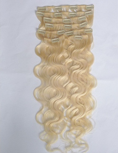 Blonde hair body wave double drawn thick 100% human hair clip in hair extension