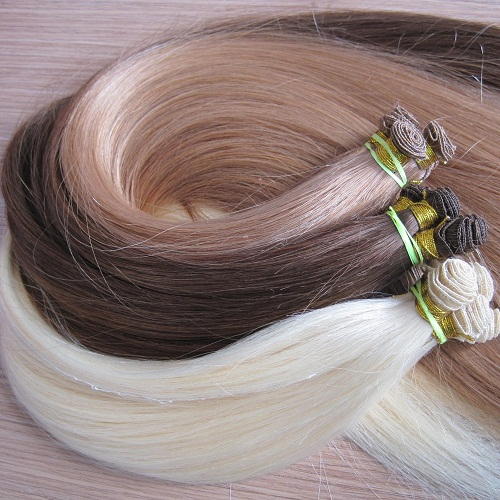 Double drawn thick straight hair 100% human hair hand tied weft